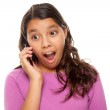 Shocked Hispanic Girl On Cell Phone — Stock Photo #2349599