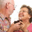 Happy Senior Couple Toasting Wine — Stock Photo