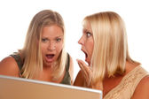 Two Shocked Women Using Laptop Isolated — Stock Photo