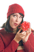 Attractive Woman Holds Holiday Gift Isol — Stock Photo