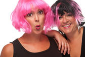 Two Pink & Black Haired Gals — Stock Photo