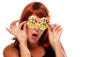 Red Head with Bling-Bling Dollar Specs — Stock Photo
