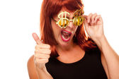 Red Head Girl in Dollar Sign Glasses — Stock Photo
