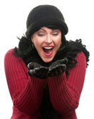 Excited Woman, Winter Clothes Hands Out — Stock Photo