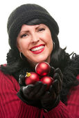 Attractive Woman Holding Red Ornaments Isolated — Stock Photo