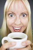 Beautiful Woman Enjoys Coffee — Stock Photo