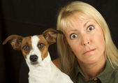 Woman and Her Jack Russell Terrier Dog — Stock Photo