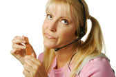 Bored Customer Support Girl on White — Stock Photo