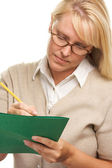 Smart Woman with Pencil and Folder — Stock Photo