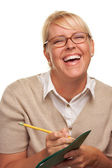 Laughing Woman with Pencil and Folder — Stock Photo