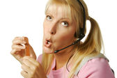 Bored Customer Support Girl — Stock Photo