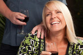 Blonde Wine Drinking Woman Socializing — Stock Photo