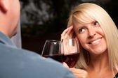 Flirtatious Blonde Wine Drinking — Stock Photo