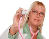 Female Doctor Holding Stethoscope — Stock Photo