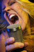 Woman Sings with Passion — Stock Photo