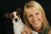 Attractive Woman & jack Russell Dog — Stock Photo