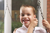 Adorable Young Boy with Blue Eyes Smiles — Stock Photo