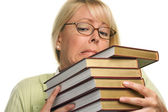 Female Student Struggles with Books — Stock Photo