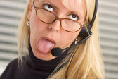 Bored Businesswoman with Phone Head — Stock Photo