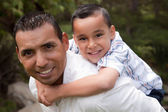 Hispanic Father and Son Having Fun — Stockfoto