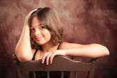 Pretty Hispanic Girl Studio Portrait — Stock Photo