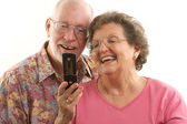 Senior Couple and Cell Phone — Stock Photo