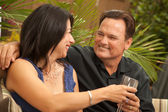 Mixed Race Couple on the Patio — Stock Photo