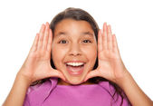 Hispanic Girl Framing Face with Hands — Stock Photo