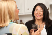 Two Girlfriends Enjoy a Glass of Wine — Stock Photo
