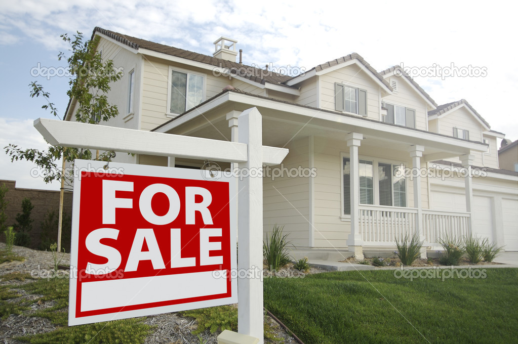 For Sale Real Estate Sign in Front of Beautiful New Home  Stock Photo #2341367