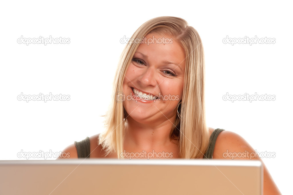 Smiling Blonde Woman Using A Laptop. — Foto Stock #2342896