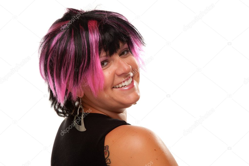 Pink And Black Haired Girl Portrait Stock Photo