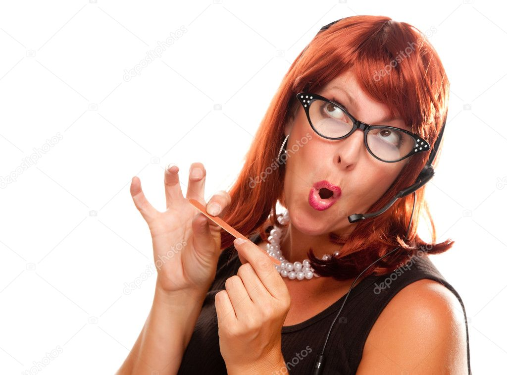 Red Haired Retro Receptionist Filing Her Nails Isolated on a White Background. — Stock Photo #2343960