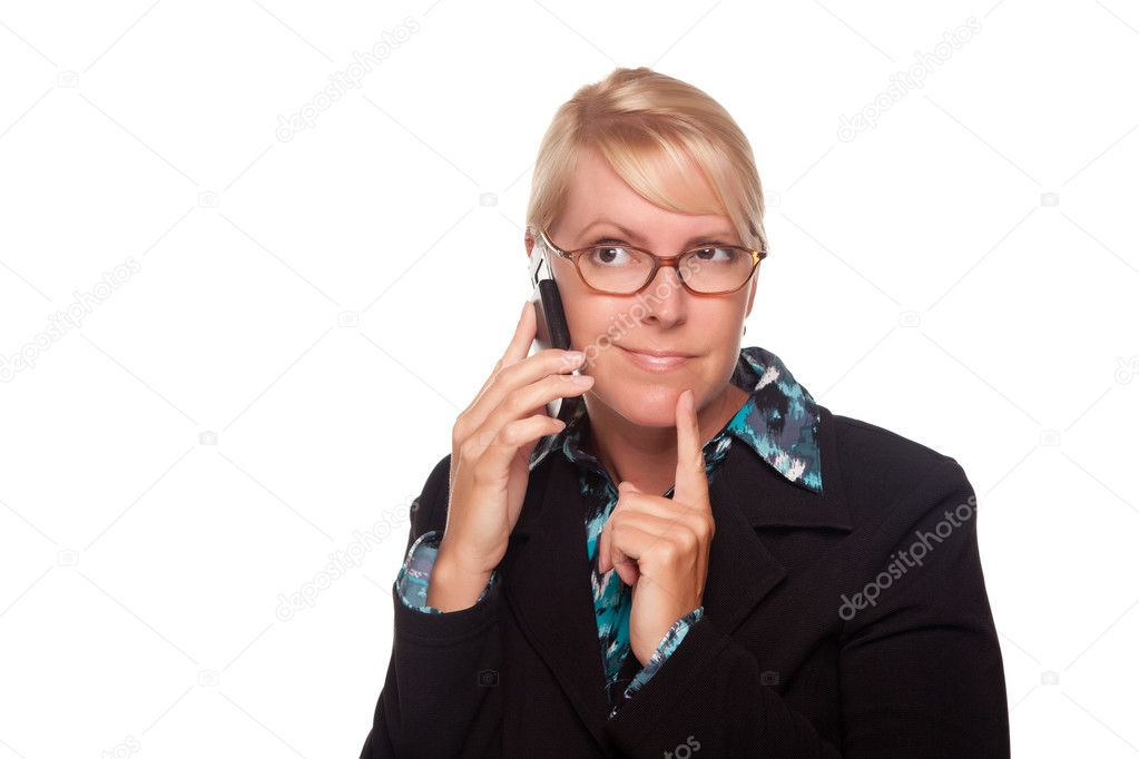 Intrigued Blonde Woman Using Phone Isolated on a White Background. — Stock Photo #2344914
