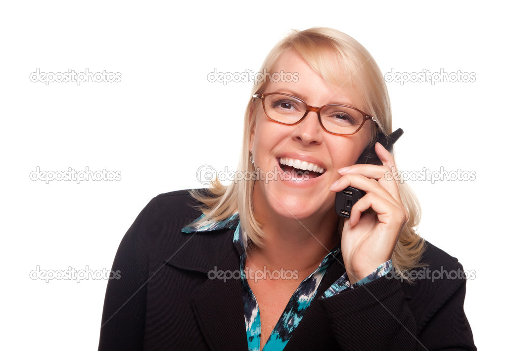 Attractive Blonde Woman Using Phone Laughing Isolated on a White Background. — Stock Photo #2344920