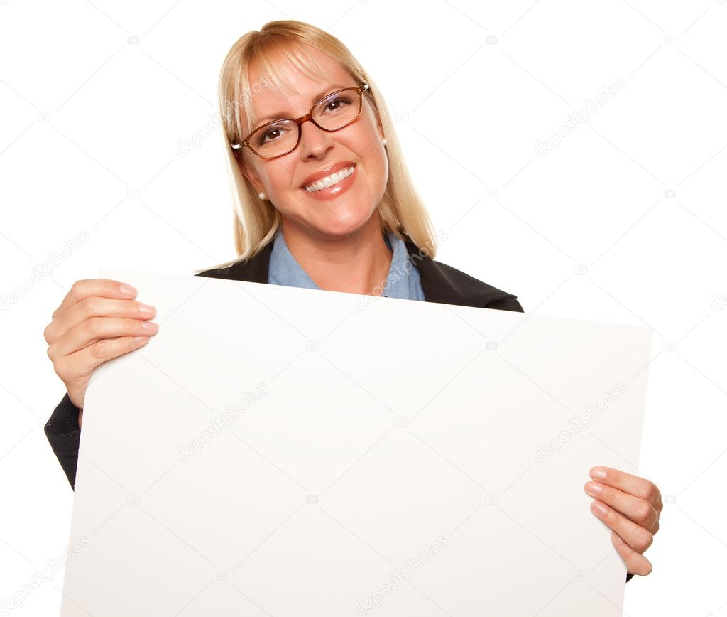 Attractive Blonde Holding Blank White Sign Isolated on a White Background.  Stock Photo #2344976