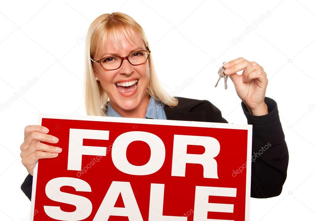 Asian Woman Holding Sale Sign 88