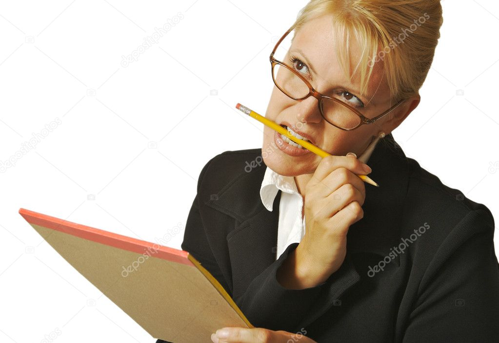 Beautiful Woman Thinks with Pencil & Notepad on a White Background. — Stock Photo #2345437