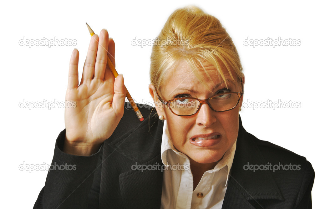 Female Student Reluctant to Raise Her Hand on a white background.  Stock Photo #2345530