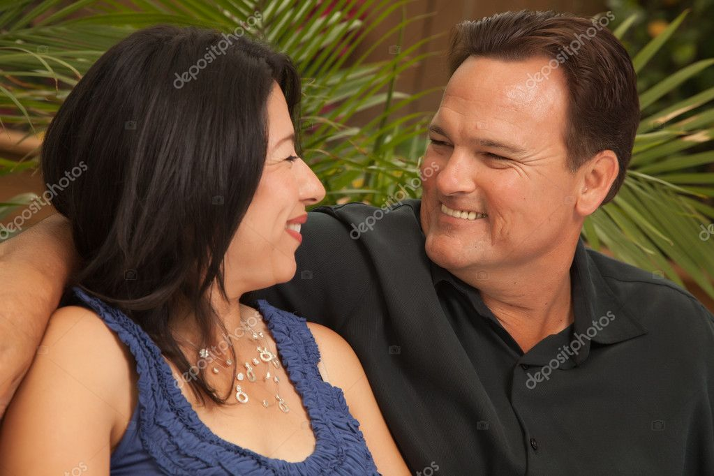 Happy Attractive Hispanic and Caucasian Couple Portrait. — Stock Photo #2349525