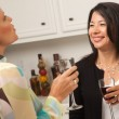 Two Girlfriends Enjoy a Glass of Wine — Stock Photo #2350071