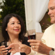 Hispanic Woman and Man Drinking Wine — Stock Photo