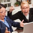 Two Women Using Laptop Celebrate Success — Foto de Stock