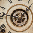 Royalty-Free Stock Photo: Worn Vintage Antique Clock Face and Mechanism.