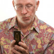 Senior Man Using Cell Phone On White — Stock Photo