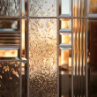 Beautiful Beveled Glass Window with Warm Reflect - Stock Photo