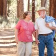 Loving Senior Couple Walking Outdoors — Stock Photo