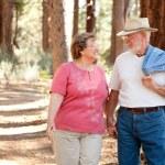 Loving Senior Couple Walking Outdoors — Stock Photo