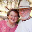 Loving Senior Couple Outdoors — Stock Photo