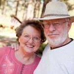Loving Senior Couple Outdoors — Stock Photo